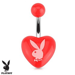Piercing nombril coeur playboy rouge en acrylique Kuju NOM544