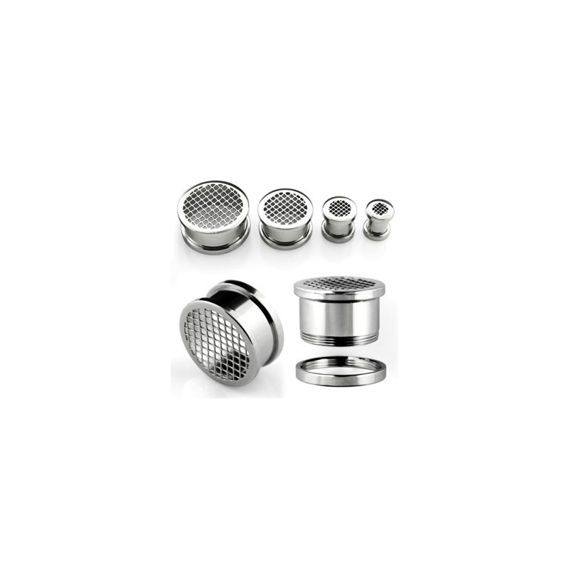 Piercing tunnel acier grille 6mm Xua Piercing oreille4,99€