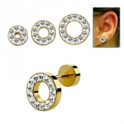 Faux piercing tunnel 10mm doré et cristal blanc Voki FAU247