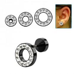 Faux piercing tunnel 10mm noir et cristal blanc Volij FAU248