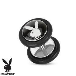 Faux piercing plug playboy noir et lapin blanc FAU249