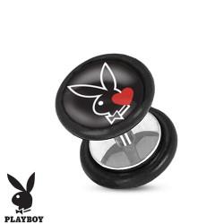Faux piercing plug playboy lapin noir et coeur rouge FAU250