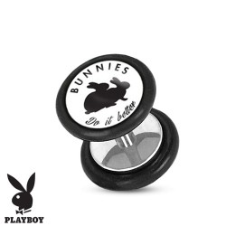 Faux piercing plug playboy lapin noir do it better FAU251