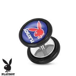 Faux piercing plug playboy bleu et lapin rouge FAU252