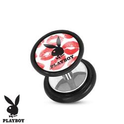 Faux piercing plug playboy et baisers rouge FAU256