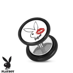 Faux piercing plug playboy et lèvres rouge FAU257