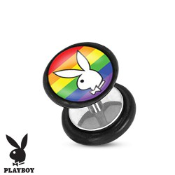 Faux piercing plug playboy blanc et arc en ciel FAU258