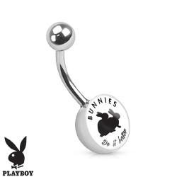 Piercing nombril playboy lapins noir et blanc NOM546