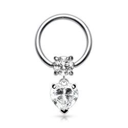 Piercing anneau 10 x 1,2mm avec un coeur en zirconium blanc Haxi ANN071