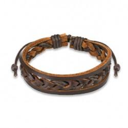 Bracelet marron tressé avec cordes de cuir BRA049