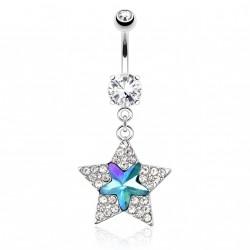 Piercing nombril avec étoile en zirconium bleu et blanc Piercing nombril10,49€