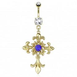 Piercing nombril doré avec croix fleur de lys Pipol NOM573