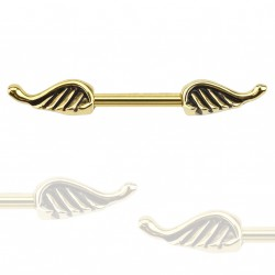 Piercing téton 11mm ailes d'ange doré Dytu TET078