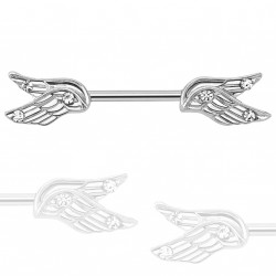 Piercing téton 11mm double ailes d'ange blanche Duvaz TET080