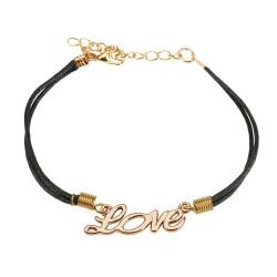 Bracelet en cuir noir et logo love Qop BRA051