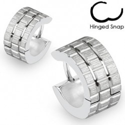 Boucle anneau oreille acier gravé grille square Koip ANN072