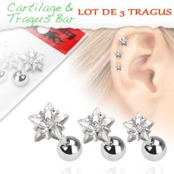 Piercings de 3 tragus étoiles blanc Kotu