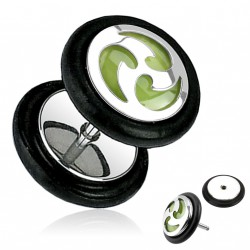 Faux piercing plug tribal sur fond vert Topy FAU110