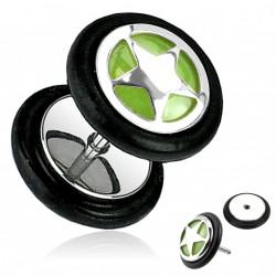 Faux piercing plug étoile sur fond vert Tuyp FAU082