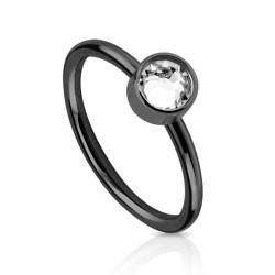 Piercing anneau acier noir 8mm avec zirconium blanc Biko Piercing nez3,80€