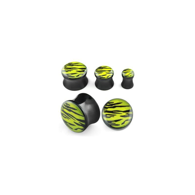 Piercing plug jaune zébré 10mm Keri Piercing oreille4,99€
