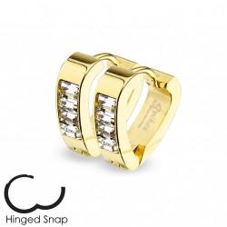 Boucle anneau oreille doré avec zirconium square Chay ANN024