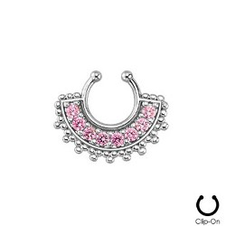 Faux piercing nez septum rose Quaz FAU275