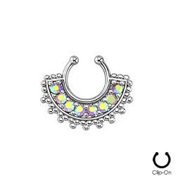 Faux piercing nez septum aurore boréale Qoko FAU275