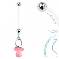 Piercing nombril grossesse tétine rose Tux NOM011