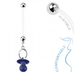 Piercing nombril grossesse tétine bleu Tupo NOM011