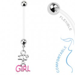Piercing nombril grossesse I is a girl rose Baty NOM012