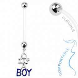 Piercing nombril grossesse I is a boy bleu Buto NOM012