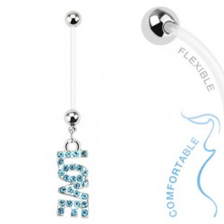 Piercing nombril grossesse love bleu Baty NOM013