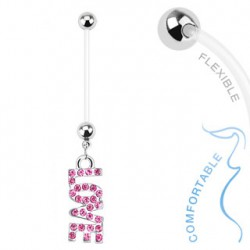 Piercing nombril grossesse love rose Boih NOM013
