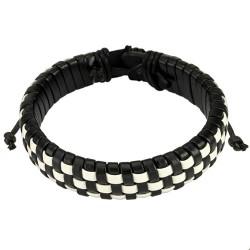 Bracelet en cuir tressé noir et blanc Haz BRA052