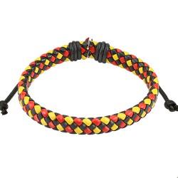 Bracelet cuir noir rouge et jaune tressé Aox BRA055