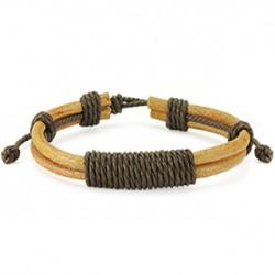 Bracelet en cuir marron cordons et noeud Hyd BRA056