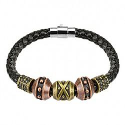 Bracelet marron en cuir tribal Cazo BRA057