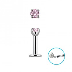 Piercing labret 6 x 1,2mm zirconium rose Voy LAB144