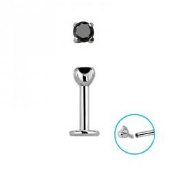 Piercing labret 6 x 1,2mm zirconium noir Kop LAB144