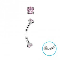 Piercing arcade 10mm zirconium rose Syr