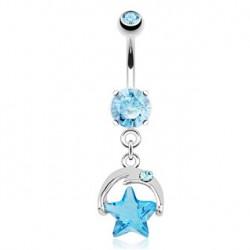 Piercing nombril étoile bleu en zirconium Tay NOM479
