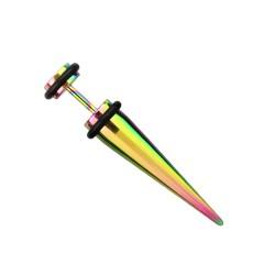Faux piercing écarteur acier arc en ciel Pyzu FAU098