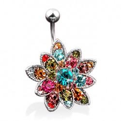 Piercing nombril fleur multi gemmes Aly NOM140