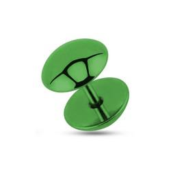 Faux piercing plug 8mm acier vert Caz