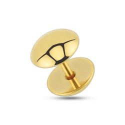 Faux piercing plug 8mm acier doré Vaz FAU277