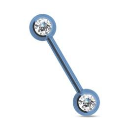 Piercing téton 14mm bleu clair et cristal blanc Syfaz Piercing téton5,49€