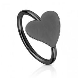 Piercing anneau noir 8mm avec coeur Byta NEZ058