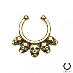 Faux piercing septum tête de mort doré Palo FAU278