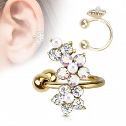 Faux anneau d'oreille doré et fleurs Jopu FAU279